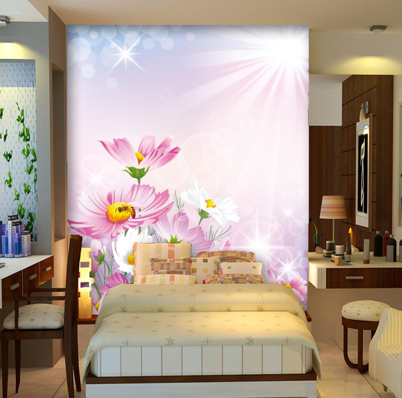 3D Flowers And Sunbeams 2896 Paper Wall Print Wall Decal Wall Deco Indoor Murals