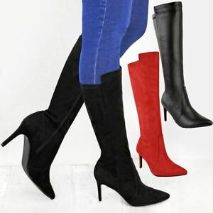 cbcd0cb720b6 New Ladies Womens Mid Calf Knee High Stretch Low Heel Stiletto Boots ...