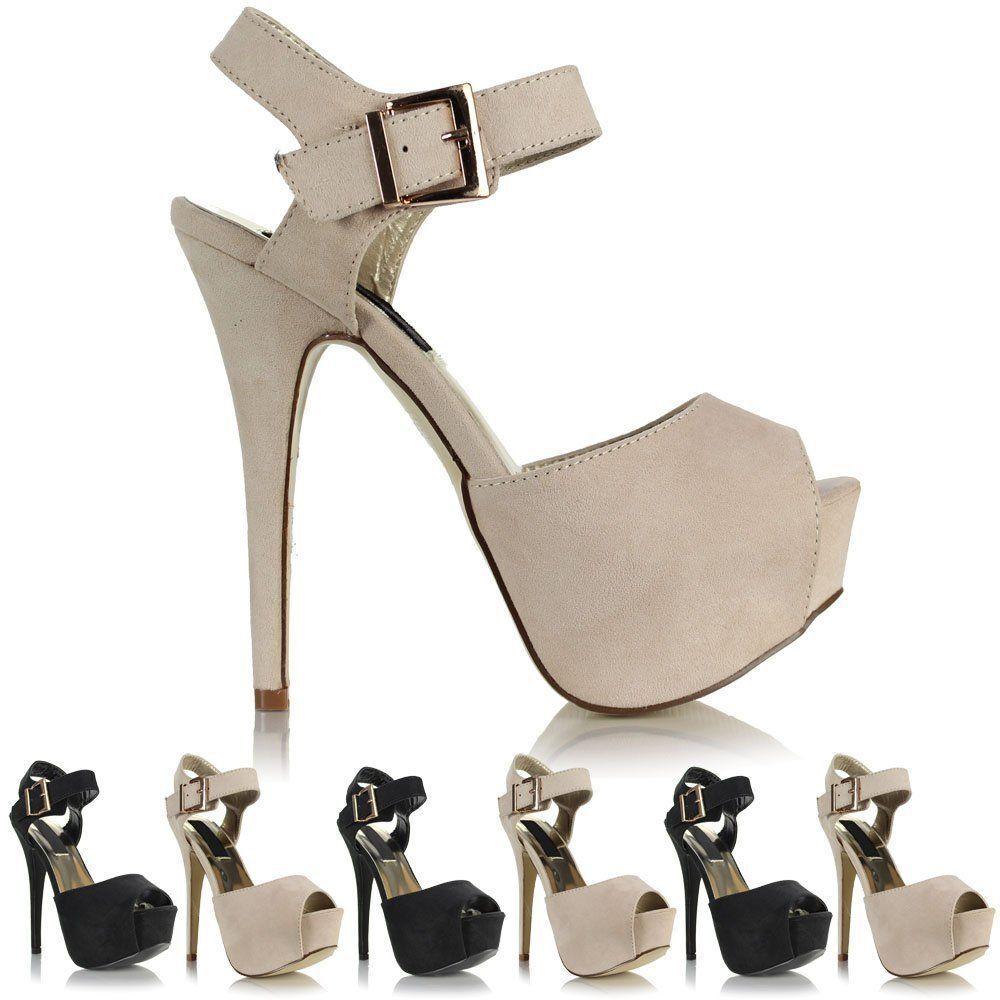 Ladies Womens Platform Suede High Heel Stiletto Peep Toe Platform Womens Buckle Sandals Shoes d4398c