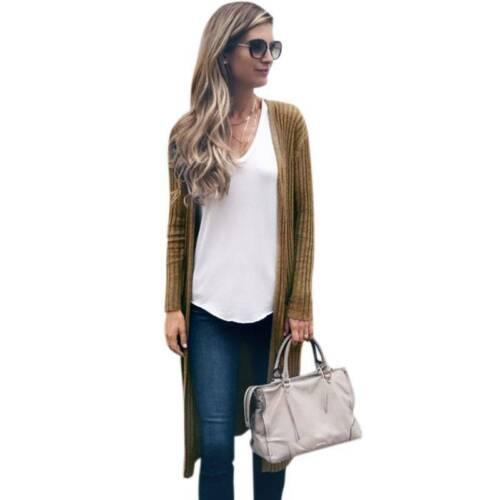 Damen Langarme Pullover Strickjacke Mantel Cardigan Übergangs Jacke Outwear Tops