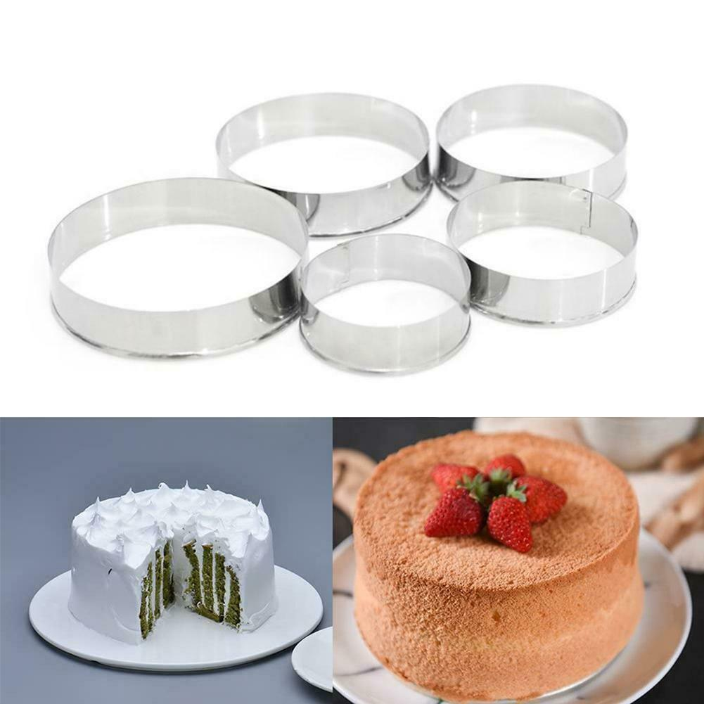 5 Sets Round Circle Stainless Steel Cookie Cutter Biscuit DIY Baking Pastry Mold