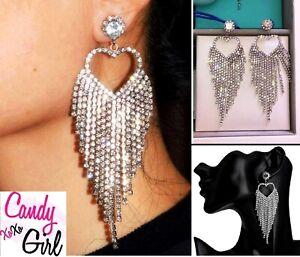 Beautiful Crystal Diamante Silver Rhinestone Heart Long Tassel Fashion Earrings