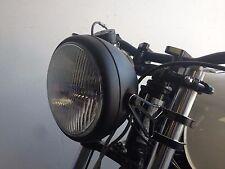 "8"" Headlight Black Halogen Motorcycle  35mm cafe racer cb750 cb Honda w/ bracket"