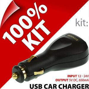 Kit USB In-Car Charger 12/24V Lighter Socket for Mobile and Smart Phones