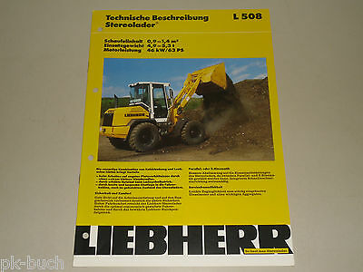 02/1995 Trendmarkierung Technische Beschreibung Daten Liebherr Radlader Stereolader L 508 L508 SchöNer Auftritt