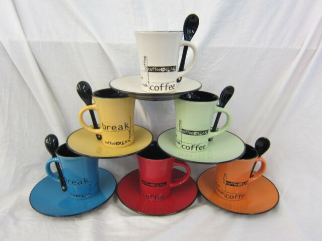 THE LEONARDO COLLECTION COFFEE MUG WITH SPOON & PLATE (6 COLOURS)