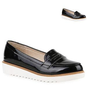 new concept 1d139 fb966 Details zu Damen Loafers Lack Slipper Profil Sohle College Schuhe 811710  Mode