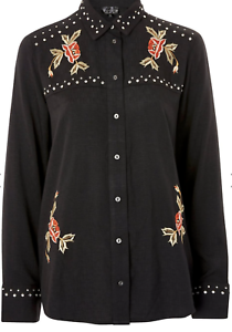 New-Top-Shop-Black-Rodeo-Studded-Embroidered-Shirt-Cowgirl-RRP-39-Now-14-99