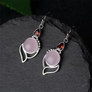 Boucles-d-039-oreilles-pendantes-en-argent-925-avec-quartz-rose-et-perle-rose