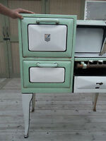AB STOVE COMPANY Antique Gas Stove Model #955-L Mint Green & White 1920's