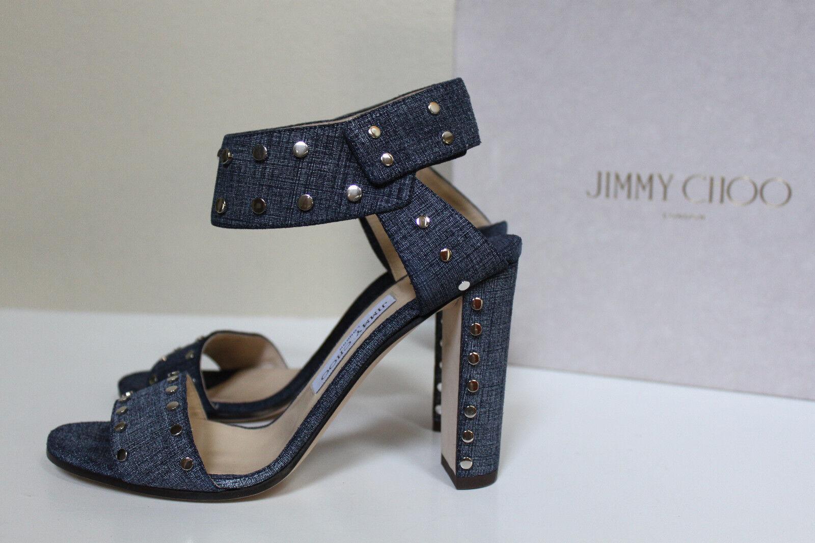 New sz 6 / 36 Jimmy Choo Veto Open Light Denim Studded Open Veto Toe Ankle Sandal schuhes 91ceab