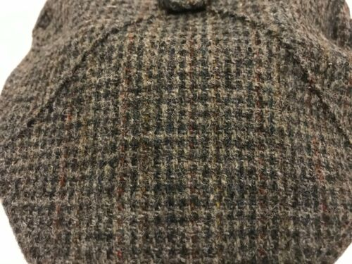SCOTTISH HARRIS TWEED CARREAUX GRIS 4 Quart Scots bunnit Flat Cap de conduite Chapeau
