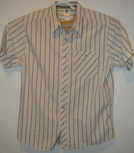 North-Face-Men-039-s-Short-Sleeve-Stripped-Shirt-Size-L