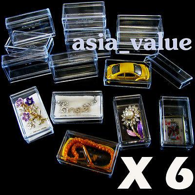 6 x Clear Case Box Display Dollhouse Miniature Doll & Bear jewelry Gemstone Ring