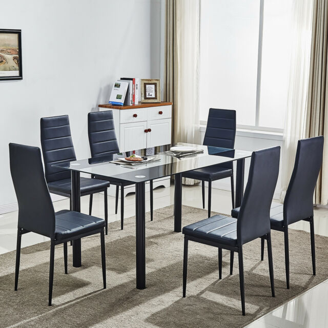 86454dcc972 Black Glass Dining Table Set W 6 Faux Leather Chairs Kitchen ...