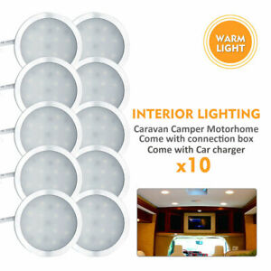 10x12V-Spot-LED-interieur-Lumiere-chaude-Pour-camping-car-caravane-lumiere