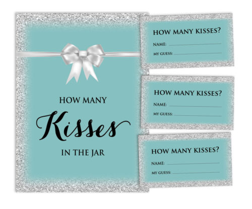 30 Cards How Many Kisses In The Jar Glitter Bridal Shower Game-BDS-38O 1 Sign