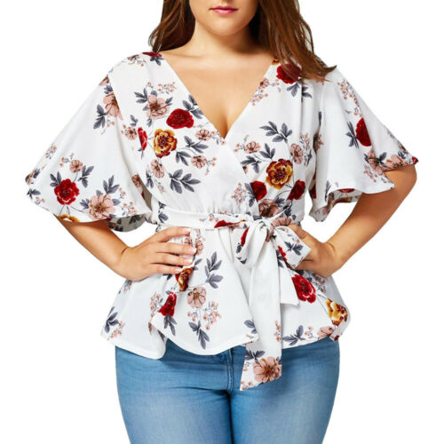 Plus Size Fashion Womens Floral Print Belted Surplice Peplum Blouse V-Neck Tops