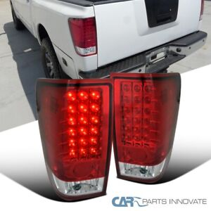 For 04-15 Nissan Titan Red Clear LED Tail Lights Brake Rear Lamps Left+Right L+R