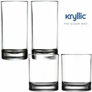 Acrylic-Highball-Drinking-Glasses-Tumbler-Cups-Set-Of-4-2x14oz-amp-2x16oz-BPA-FREE