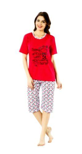 Damen Schlafanzug Kurzarm 7//8 Hose Pyjama Baumwolle Set Nachtwäsche 2tlg Rot