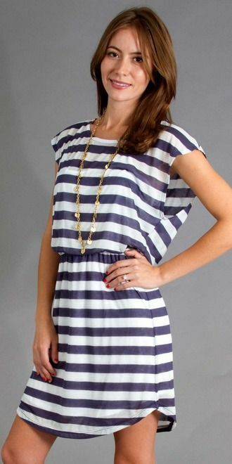 SPLENDED navy bluee & white rugby stripe bubble dress Medium   New