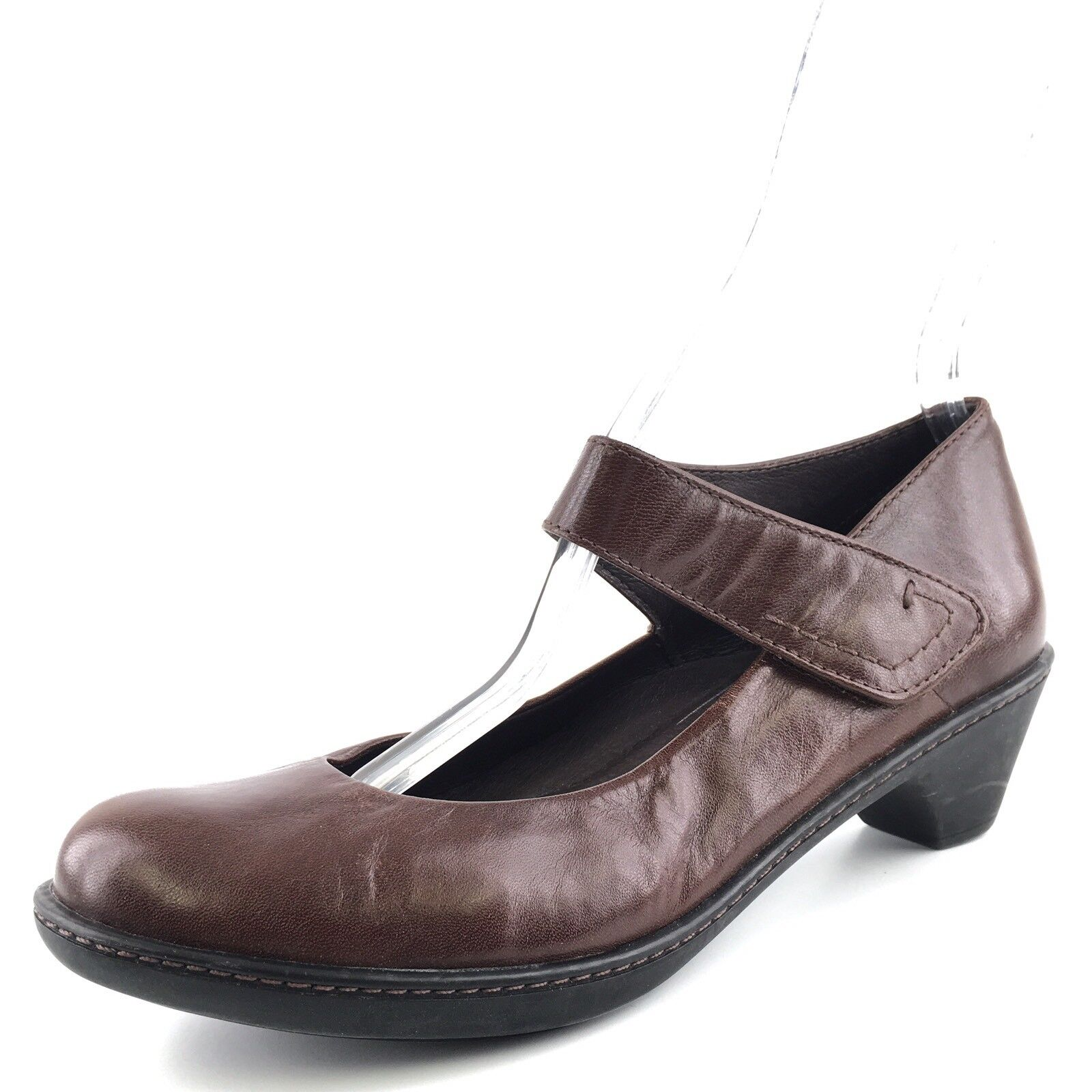 Dansko Adelle Classic Brown Leather Mary Jane Wedge shoes Womens Size 38 M