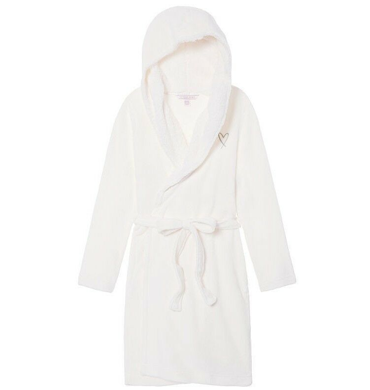 VICTORIA'S SECRET THE COZY SHORT PLUSH FLEECE ROBE IVORY M L NEW
