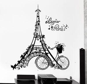 High Quality Image Is Loading Wall Decal Paris Eiffel Tower France Bicycle Love