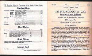 1909 Philadelphia Nuts - Price List for Birdsong & Co - Nut Company Letter head