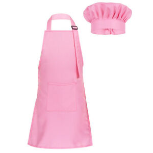 Pink-Kids-Apron-Chef-Hat-Boy-Girl-Kitchen-Children-Cooking-Baker-Painting-Size-S