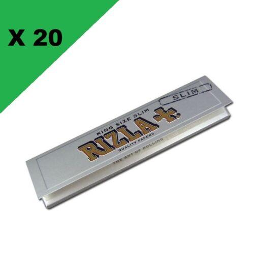 Silver Slim lot de 20 carnets feuilles à rouler longue Rizla