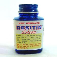Desitin Lotion Vintage Sample Cobalt Medicine Bottle With Contents