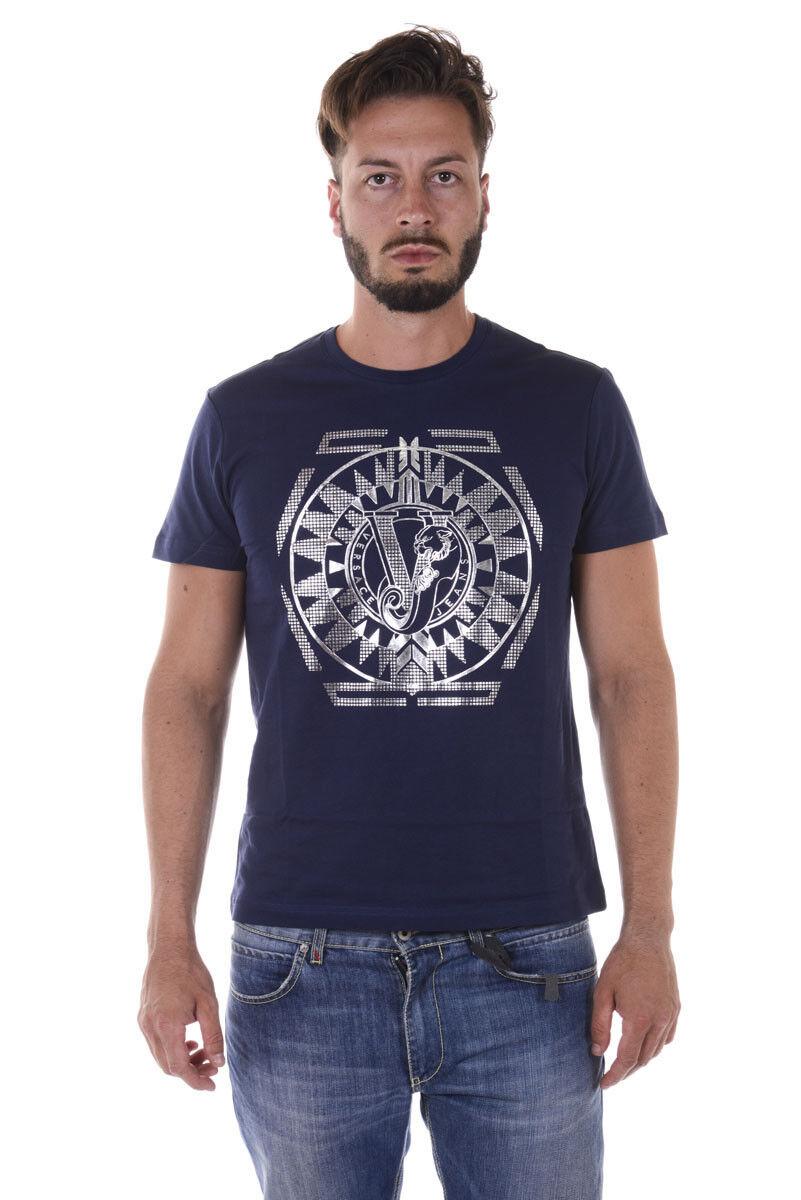 T shirt Maglietta Versace Jeans Sweatshirt SLIM Cotone  Herren Blu B3GQA796 200