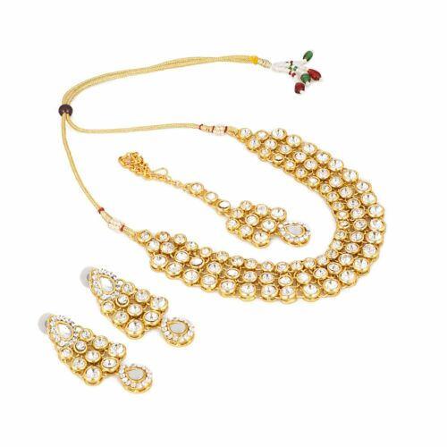 Gold Tone Kundan Choker Necklace Set Indian Bollywood Bridal Pearl Jewelry