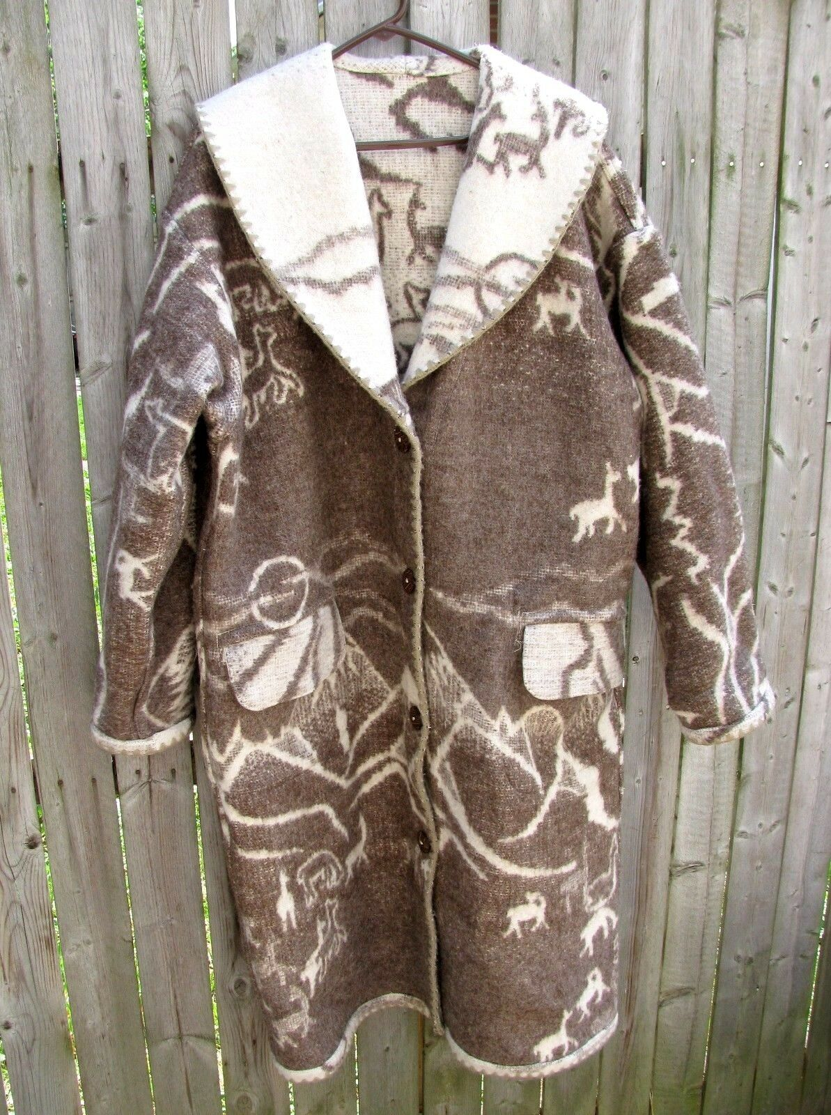 Full Length Wool Coat Reversible Western Wildlife and Mountains Theme Size Med