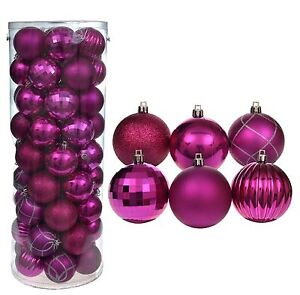 Pink Christmas Ornaments.Details About 60 Pack Of 6cm Large Pink Christmas Tree Baubles Hanging Ornaments 6 Designs