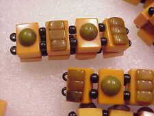 Large Bakelite butterscotch and green Two Tone Bracelet Mah Jong Jan Carlin
