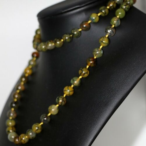 yellow natural dragon veins carnelian agate gem 10mm round beads necklace 36inch