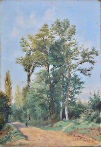 """Tableau ancien, huile sur papier.XIX ème, École de Barbizon.""""Paysage au Chemin."""""""
