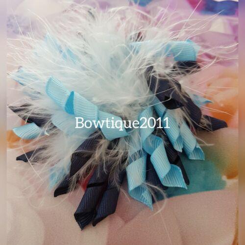 school//dance Navy//Light Blue Handmade Fluffy Ostrich Feather Korker Hair Clip