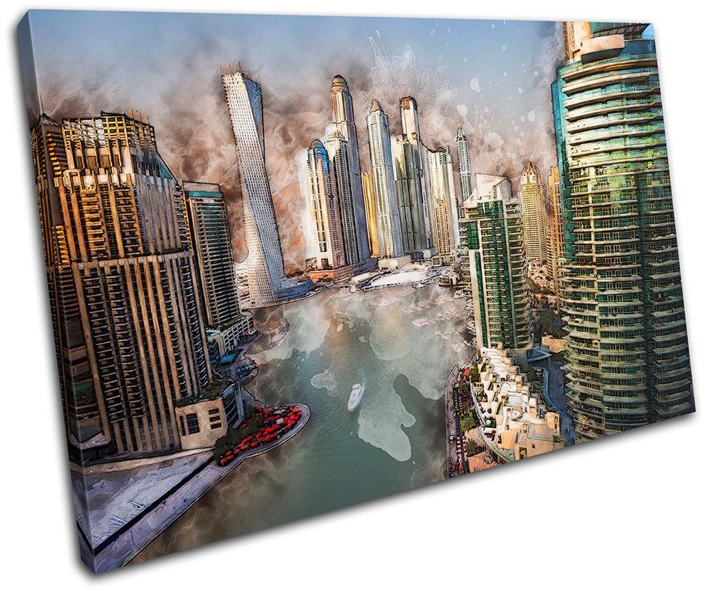 Dubai Abstract  City SINGLE TOILE murale ART Photo Print