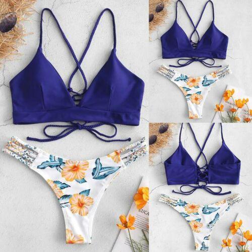 Women Bikini Cut Flower Two Piece Swimsuit Pushups Swimwear Wire Free Beachwear