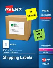5 Sheets Avery 9592051655265 White 8 12 X 11 Ship Labels Laserinkjet B2g1