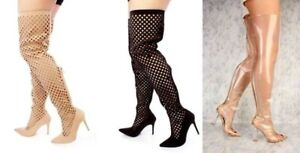 a0821b10a862 Details about Black Nude White Perforated Clear Thigh Hi Boots Faux Suede  Pumps High Heels