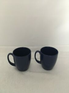 Corelle-stoneware-dark-cobalt-blue-10-oz-coffee-mugs-cups-set-of-2