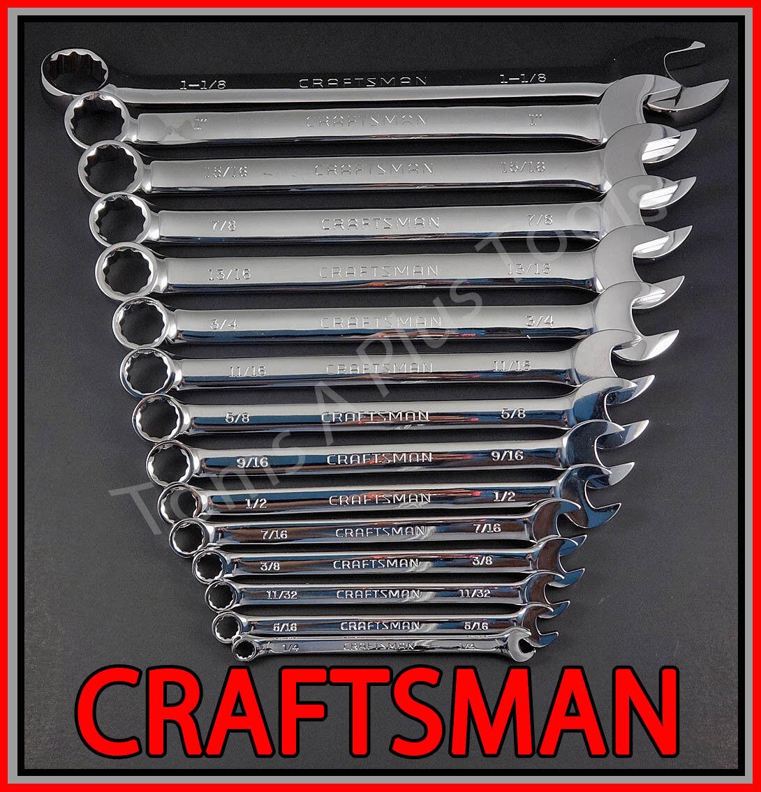 CRAFTSMAN HAND TOOLS 15pc FULL POLISH Long Beam SAE Combination Wrench Set