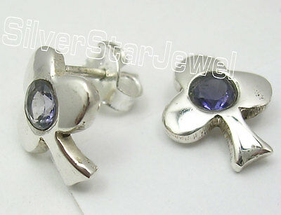 4 x 4 mm Iolite Pendant 3.1 cm 925 Sterling Silver New Jewelry Violet 4 x 4