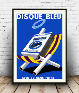 Reproduction poster Wall art. Disque Bleu Vintage French smoking advertising