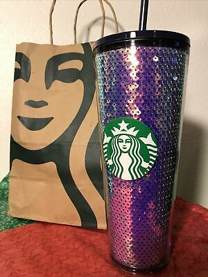 Starbucks Purple Blue Sequins Holiday Christmas 2020 Cold Cup Tumbler 24oz